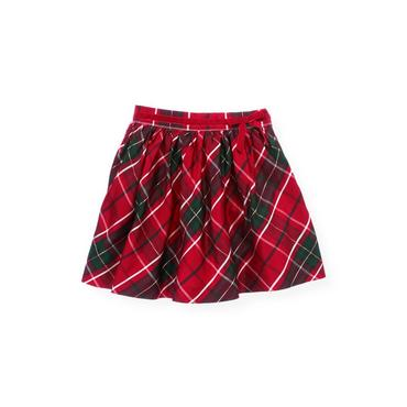 Holiday Red Plaid Plaid Silk Skirt at JanieandJack