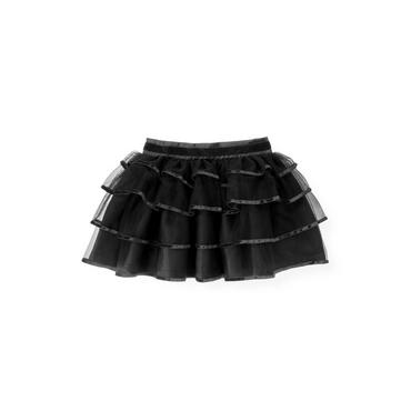 Black Velveteen Trim Tulle Skirt at JanieandJack