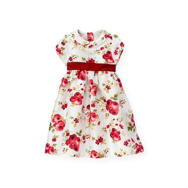 Victorian Rose Rose Floral Silk Duppioni Dress at JanieandJack