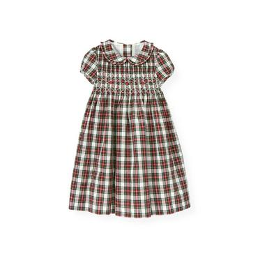 Pine Green Plaid Hand-Embroidered Smocked Plaid Dress at JanieandJack