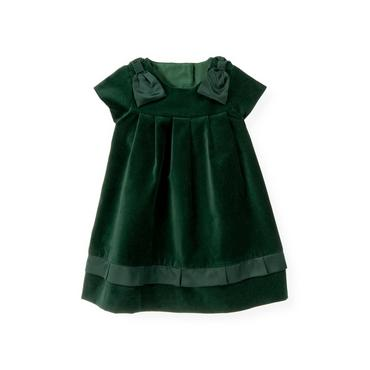 Pine Green Bow Velveteen Dress at JanieandJack