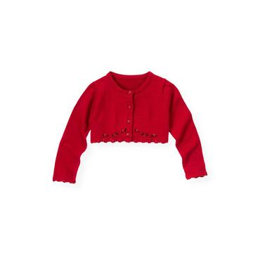 Holiday Red Hand-Embroidered Crop Cardigan at JanieandJack