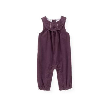 Hydrangea Purple Hand-Embroidered Corduroy Overall at JanieandJack