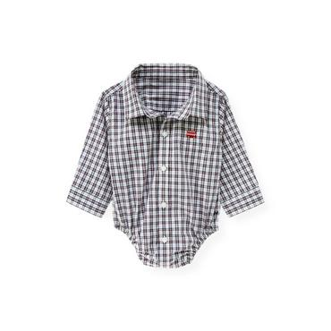 Baby Boy Cloud Blue Plaid Plaid Shirt Bodysuit at JanieandJack