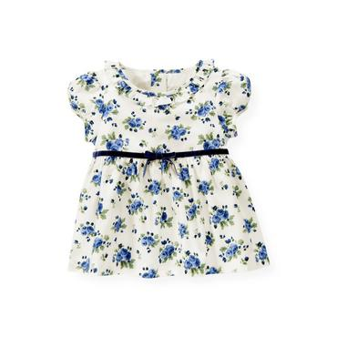 Winter Blue Floral Velveteen Bow Floral Top at JanieandJack