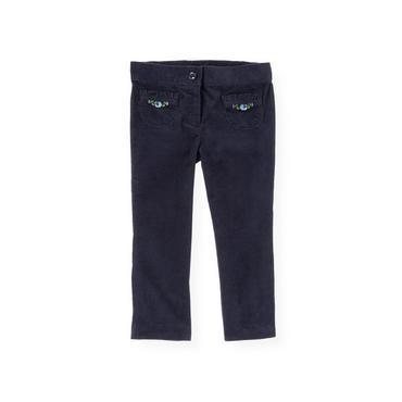 Navy Rose Embroidered Uncut Corduroy Pant at JanieandJack