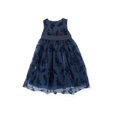 Midnight Floral Floral Flocked Tulle Dress at JanieandJack