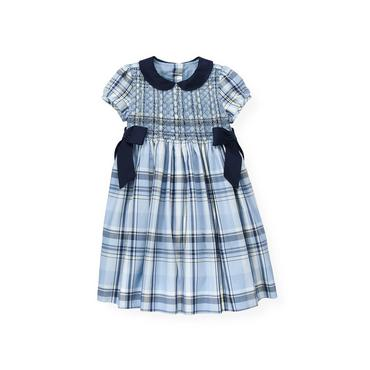 Winter Blue Plaid Hand-Smocked Metallic Plaid Dress at JanieandJack