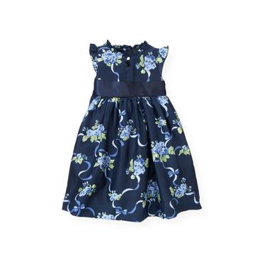 Navy Rose Floral Garland Floral Silk Dress at JanieandJack