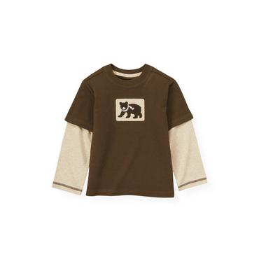 Moose Brown Bear Double Sleeve Tee at JanieandJack