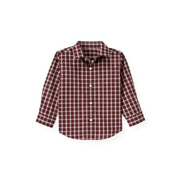 Port Wine Plaid Tattersall Plaid Shirt at JanieandJack
