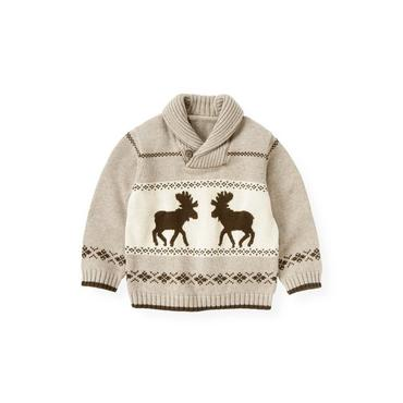 Stone Khaki Moose Fair Isle Sweater at JanieandJack