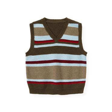 Moose Brown Stripe Stripe Sweater Vest at JanieandJack