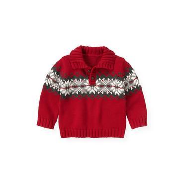 Red Holly Fair Isle Sweater at JanieandJack