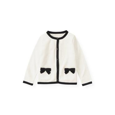 Jet Ivory Bow Pocket Tipped Cardigan at JanieandJack