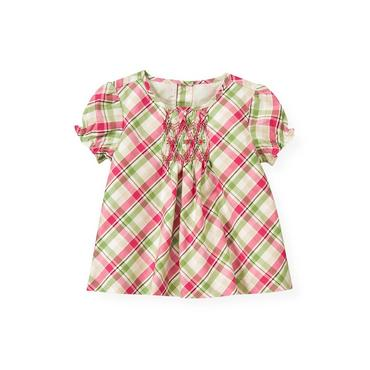 Bright Pink Plaid Hand-Smocked Plaid Top at JanieandJack