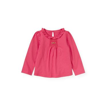 Bright Pink Hand-Smocked Top at JanieandJack