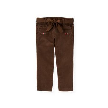 Reindeer Brown Embroidered Pocket Corduroy Pant at JanieandJack