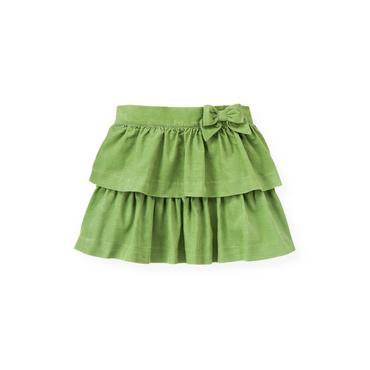 Winter Green Tiered Corduroy Skirt at JanieandJack