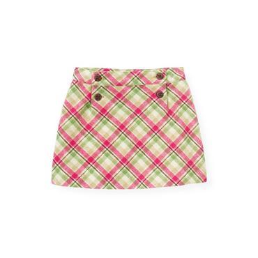 Bright Pink Plaid Plaid Woolen Skirt at JanieandJack