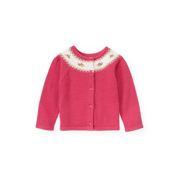Bright Pink Hand-Embroidered Fair Isle Cardigan at JanieandJack