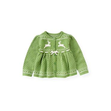 Winter Green Reindeer Fair Isle Cardigan at JanieandJack