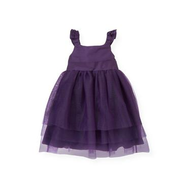 Royal Plum Flutter Sleeve Tulle Silk Dress at JanieandJack