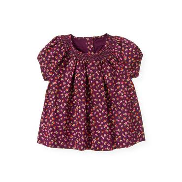 Plum Mini Floral Hand-Smocked Floral Top at JanieandJack