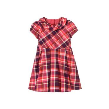 Raspberry Pink Plaid Ruffle Plaid Dress at JanieandJack