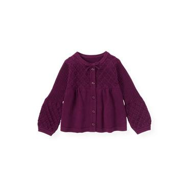 Plum Pointelle Ribbed Cardigan at JanieandJack