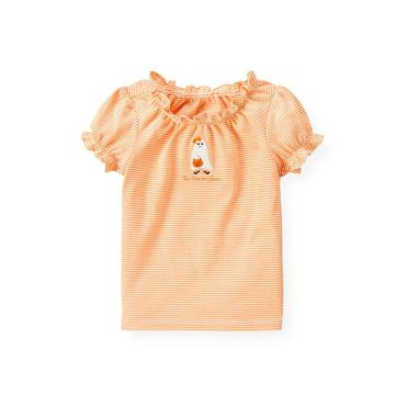 Pumpkin Orange Stripe Ghost Stripe Top at JanieandJack