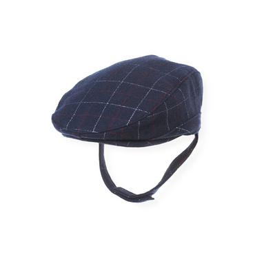 Baby Boy London Navy Plaid Plaid Woolen Cap at JanieandJack
