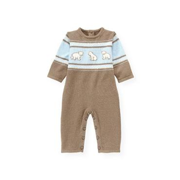 Baby Boy Polar Brown Polar Bear Sweater One-Piece at JanieandJack