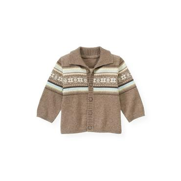 Baby Boy Polar Brown Fair Isle Cardigan at JanieandJack