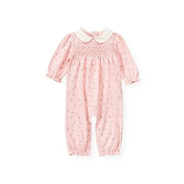 Baby Girl Ice Pink Hand-Smocked Floral One-Piece at JanieandJack