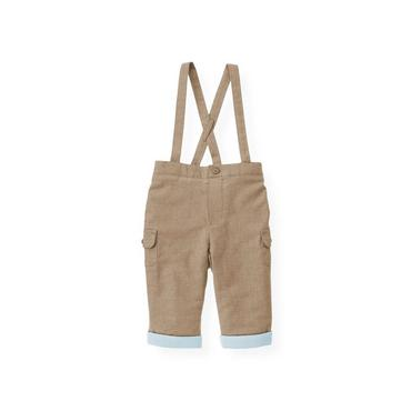 Baby Boy Polar Brown Lined Twill Suspender Pant at JanieandJack