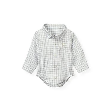 Baby Boy Ice Blue Check Tattersall Shirt Bodysuit at JanieandJack