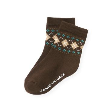 Boys Autumn Brown Argyle Sock at JanieandJack