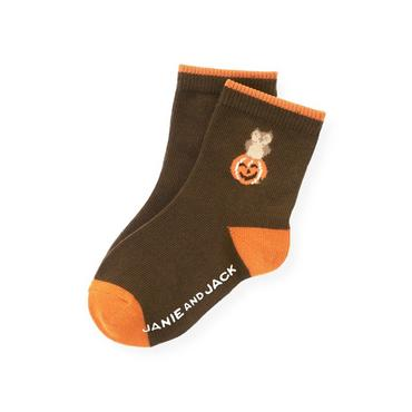 Boys Harvest Brown Pumpkin Sock at JanieandJack
