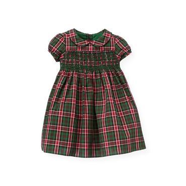 Baby Girl Pine Green Check Hand-Smocked Plaid Dress at JanieandJack
