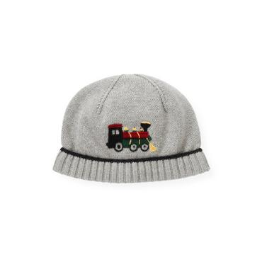 Boys Heather Grey Train Sweater Hat at JanieandJack