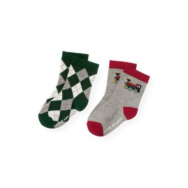 Boys Heather Grey/Pine Green Train Argyle Sock Two-Pack at JanieandJack