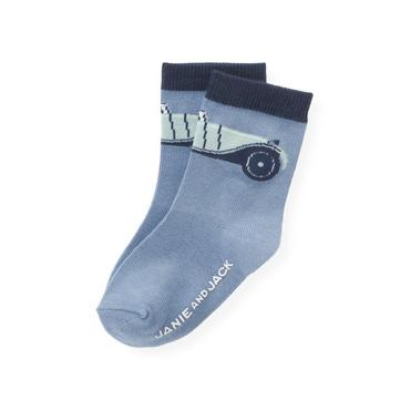 Boys Winter Blue Vintage Car Sock at JanieandJack