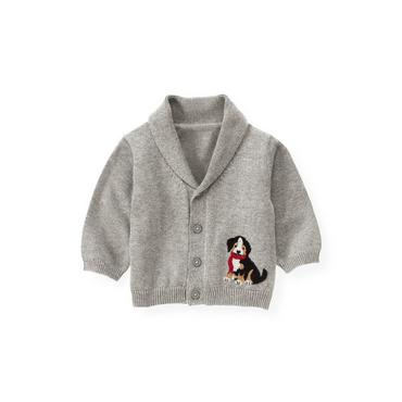 Heather Grey Puppy Shawl Collar Cardigan at JanieandJack