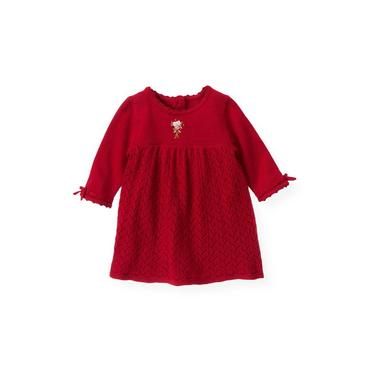 Baby Girl Holiday Red Hand-Embroidered Pointelle Sweater Dress at JanieandJack