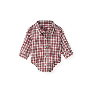 Holiday Red Check Plaid Shirt Bodysuit at JanieandJack