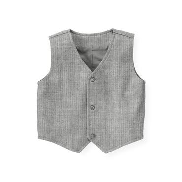 Heather Grey Stripe Pinstripe Suit Vest at JanieandJack
