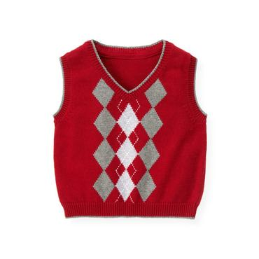 Holiday Red Argyle Sweater Vest at JanieandJack