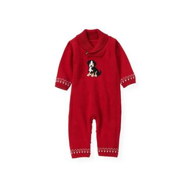 Holiday Red Puppy Fair Isle Sweater One-Piece at JanieandJack