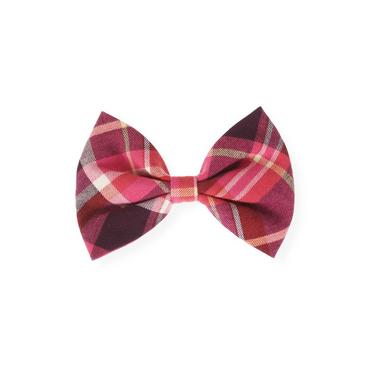 Raspberry Pink Plaid Plaid Bow Barrette at JanieandJack